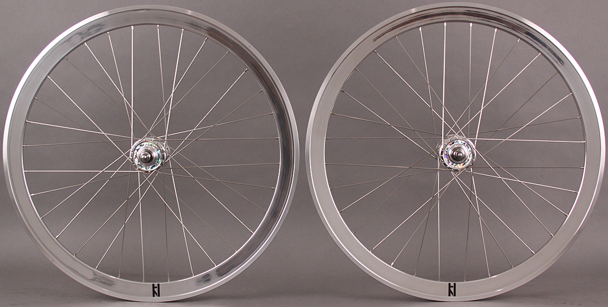 H Plus Son SL42 POLISHED Silver Single Speed Wheelset SUZUE Hubs