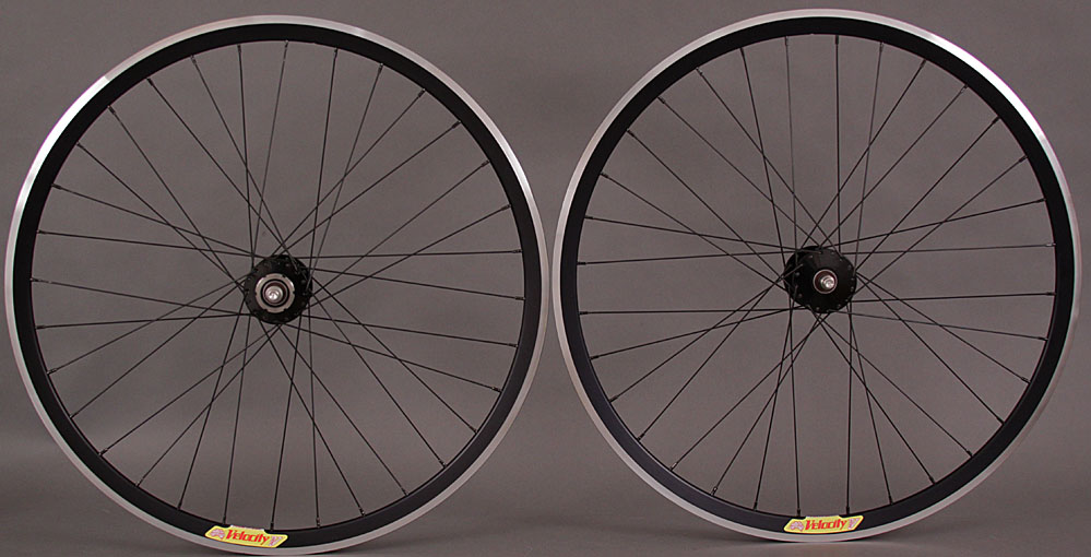 Velocity Deep V Black Phil Wood Track Hubs Wheelset DT Comp 32 H