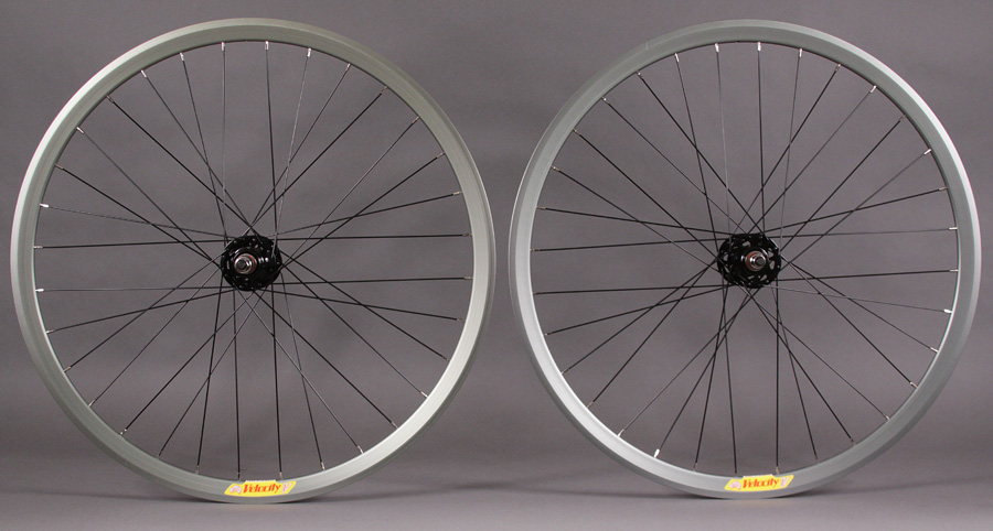 Velocity Deep V OLIVE rims fixed gear wheelset non machined