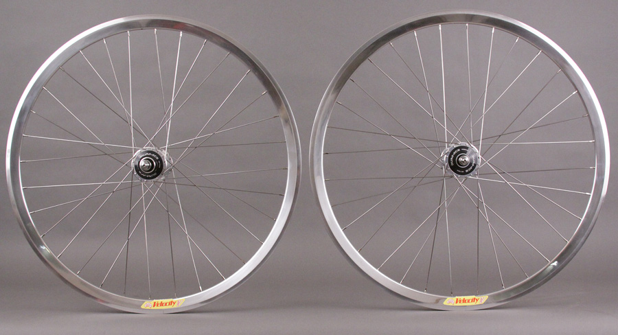 Velocity Deep V SILVER Dura Ace 7600 track hubs wheelset