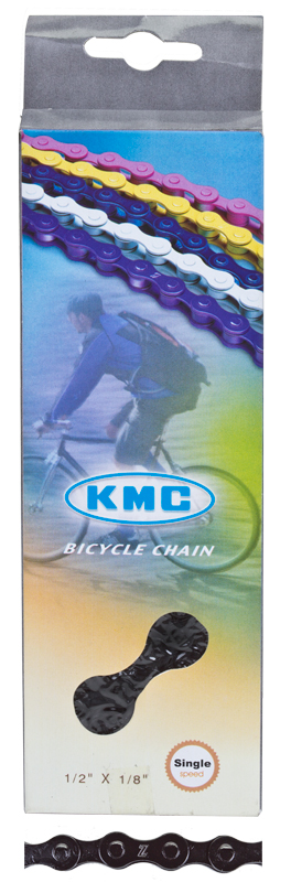 "KMC 1/8"" Z410 track fixed gear chain 112 links BLACK"