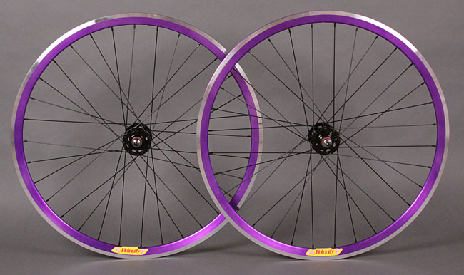Velocity Deep V Purple Ffixed Gear SingleSpeed Wheelset