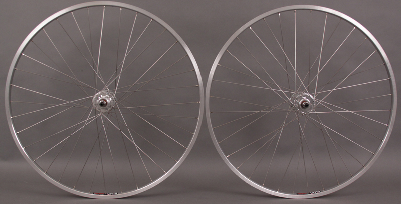 "Sun CR18 27"" Silver rims FIXED GEAR wheelset Forumla hubs"