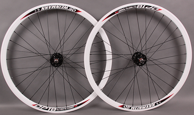 Weinmann DP18 WHITE Black fixed gear TRACK wheelset NON MACHINED