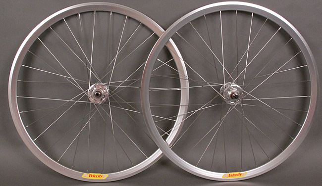 Velocity Deep V Bright Silver Track Bike Fixed Gear Wheelset 32H