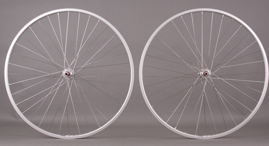 "WEINMANN LP18 SILVER 27"" 126mm fixed track single speed wheelset"