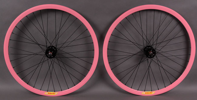 Velocity deep V PINK fixed gear WHEELSET Formula hubs
