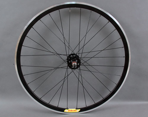 Velocity Deep V Black rear wheel, machined sidewall