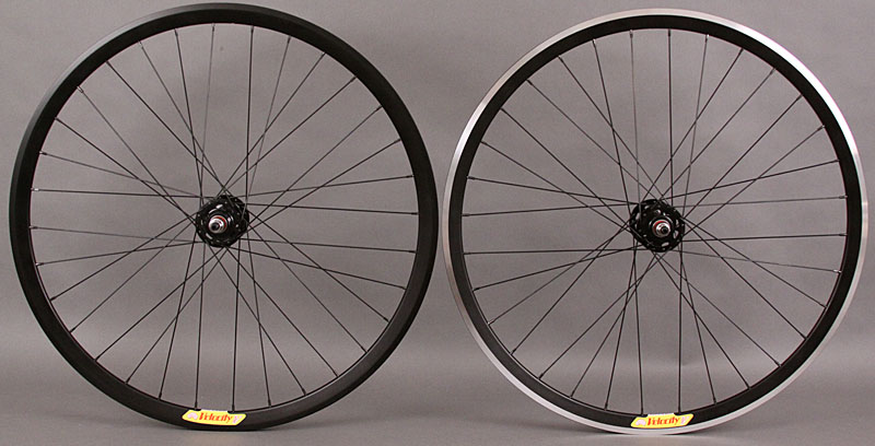 Velocity Deep V black rims fixed gear wheelset non machined rear