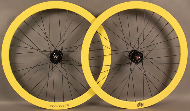 Velocity B43 Yellow Track Fixed Gear Wheelset