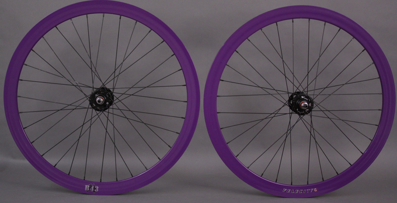 Velocity B43 Purple fixed gear track wheelset 32 spoke