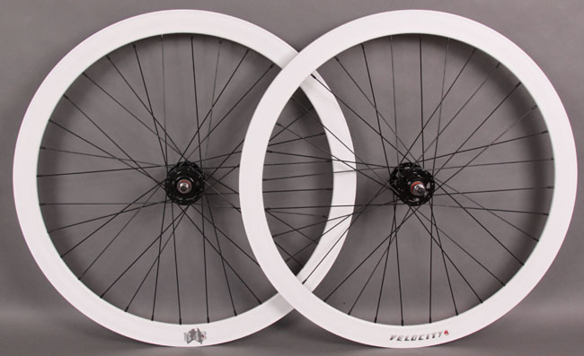 Velocity B43 WHITE Fixed Gear Track Bike Wheelset Blk Hubs