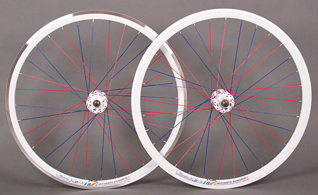 Weinmann DP18 white rims - blue & red spokes fixed gear wheelset