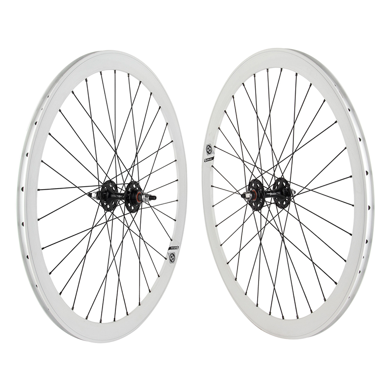 Origin8 White 32h Track Bike Fixed Gear Aero Wheelset 42mm FX/FX