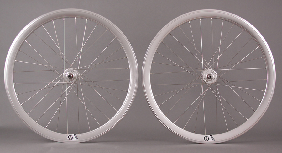 Origin8 Track Attack Fixed 42mm Deep Wheelset POLISH SILVER 32 h