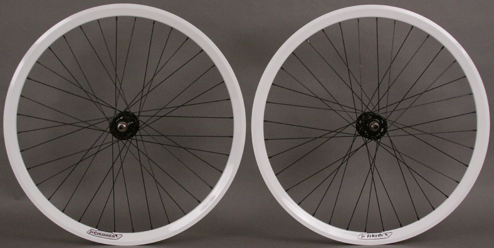 Velocity Chukker 36 Hole White Track Singlespeed Wheels