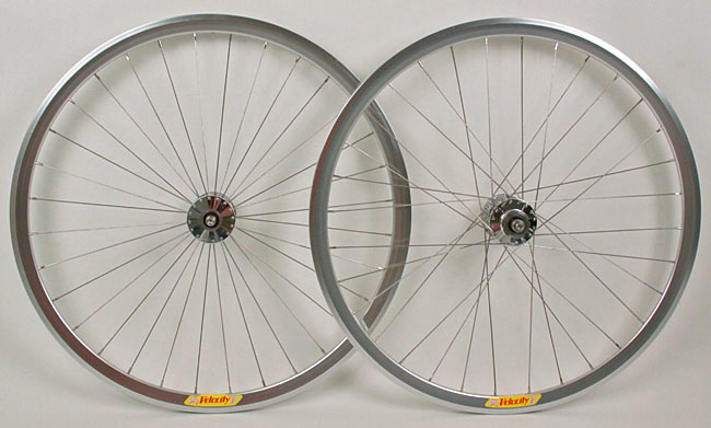 Phil Wood Hubs Velocity Deep V Silver Fixed gear Track Wheelset