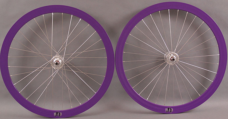 Velocity B43 PURPLE FixedTrack Wheelset Wheels Radial Front