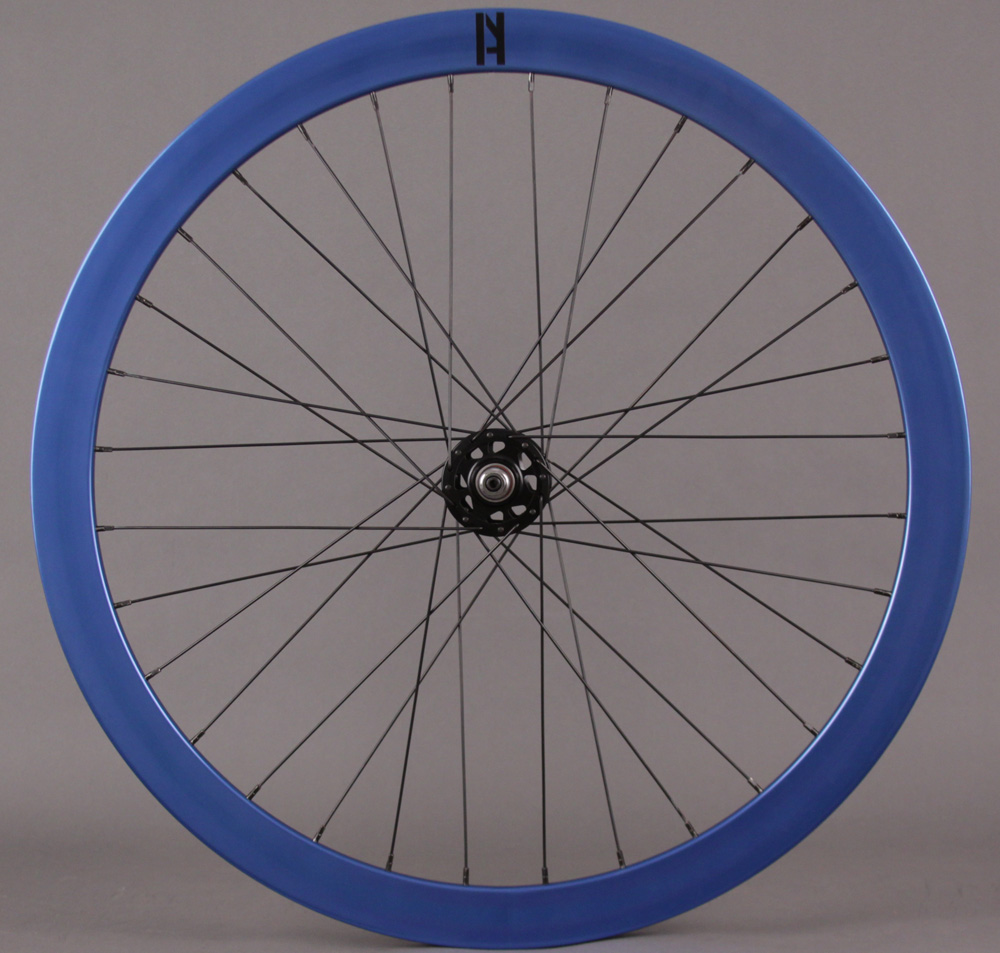 H + Plus Son Formation Face Blue Fixed Gear Aero Front Wheel