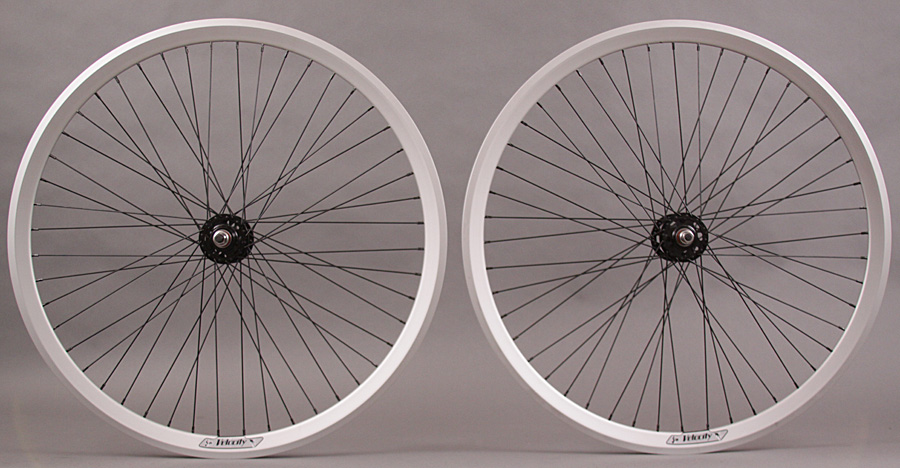 Velocity CHUKKER Silver Rim 48 Spoke Black Fixed Polo Wheelset