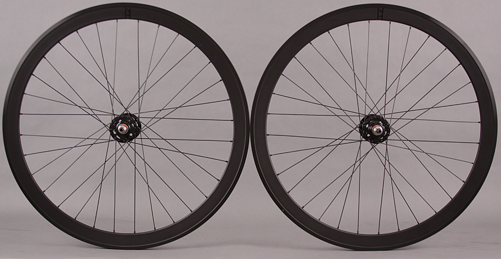 H Plus + Son SL42 Rims Black Fixed Gear Track Bike Wheelset