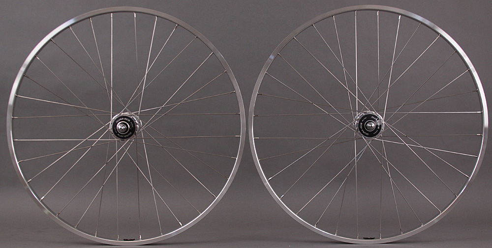 H + Plus Son TB14 Silver Dura Ace 7600 Track Hubs Wheelset