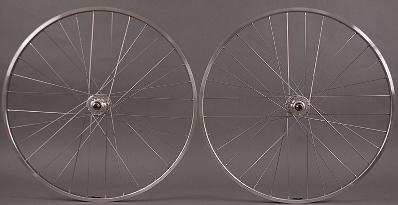 H + Plus Son TB14 Silver Fixed Gear Formula Track Hubs Wheelset
