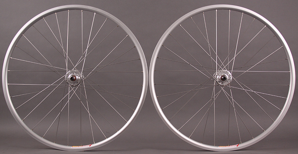 Velocity Aero rims Silver fixed gear wheelset non machined 32 H