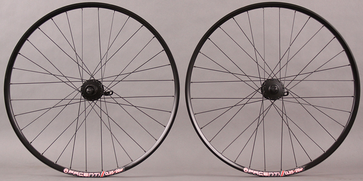 "Pacenti CL25 26"" Wheelset Shimano Deore 6 Bolt Disc Hubs DT 2.0"