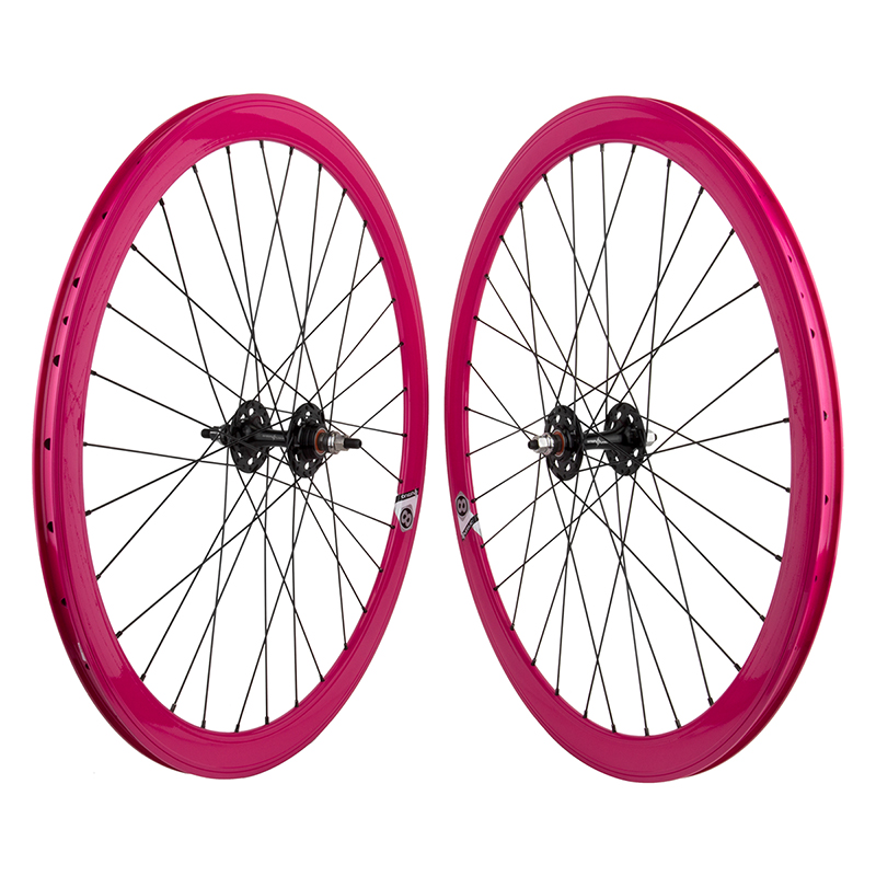 Origin8 Pink 32h Track Bike Fixed Gear Aero Wheelset 42mm FX/FX