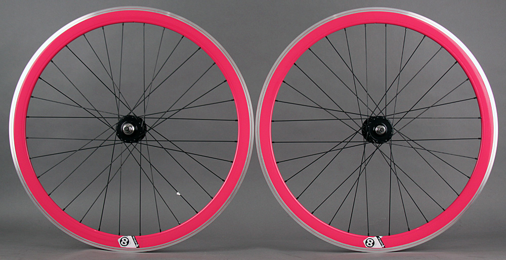 Origin8 Pink 32h Track Bike Fixed Gear Aero Wheelset 42mm MSW