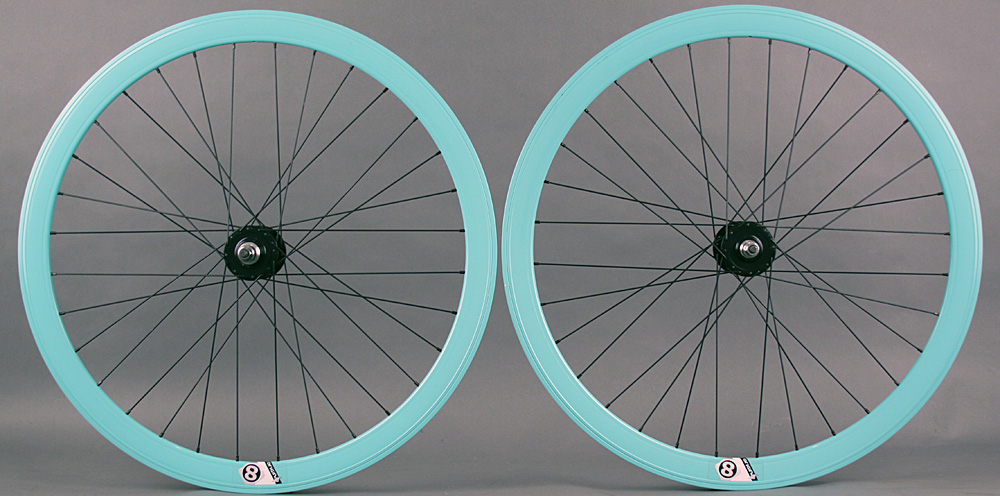 Origin8 Bianchi Celeste Green Fixed Gear Aero Wheelset 42mm NMSW