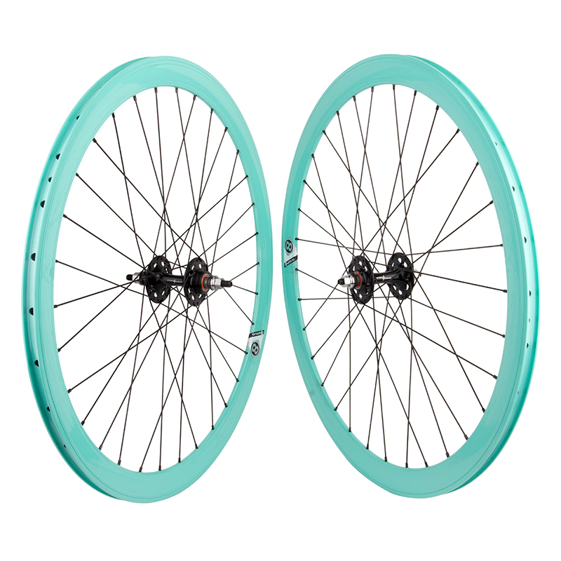 Origin8 Celeste Bianchi Green Fixed Gear Bike Aero Wheelset