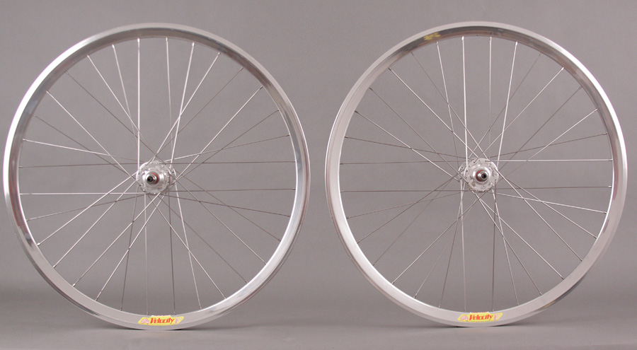 Velocity Deep V Polished Silver Track Bike Fixed Gear Wheelset