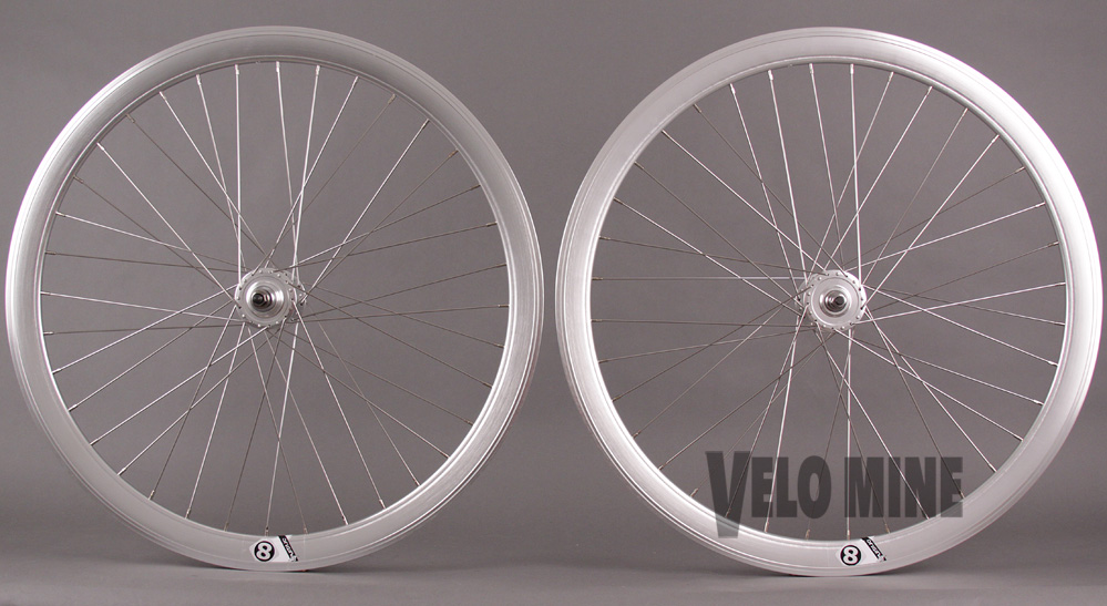 POLISHED SILVER 36hTrack Bike Fixed Gear Aero Wheelset 42mm