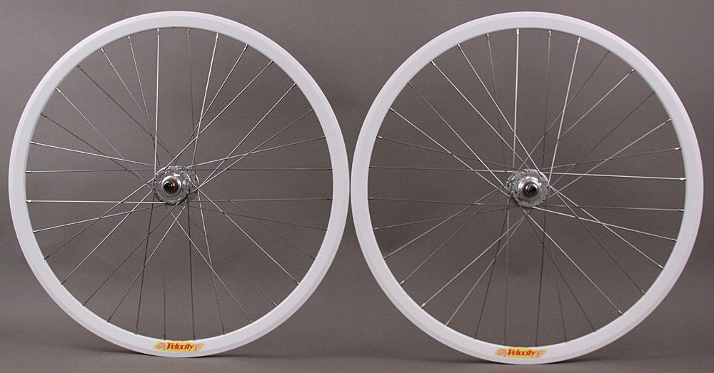 Velocity Deep V white rims fixed gear wheelset NMSW fx/fx
