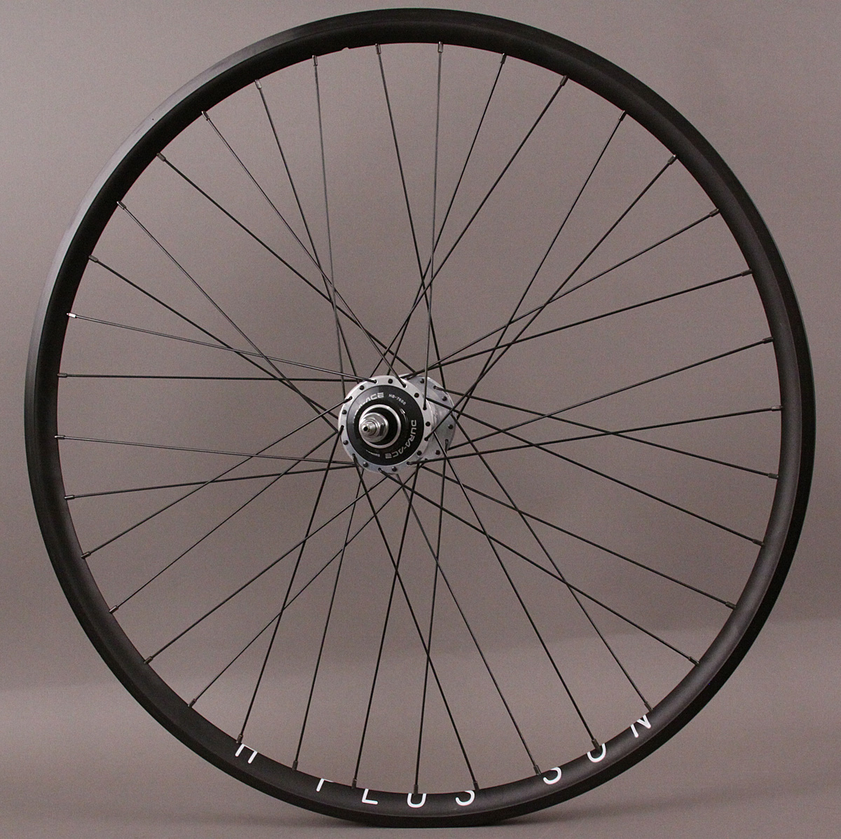 H Plus Son Archetype Rear Wheel Black Dura Ace 7600 Hub DT Comp