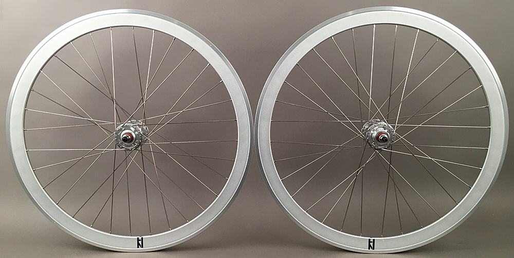 H Plus + Son SL42 Sandblasted Silver Fixed Gear Wheelset MSW 32H