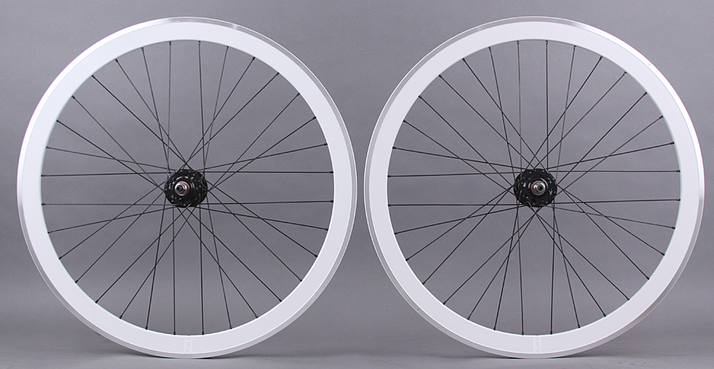 H Plus + Son SL42 Rims White Fixed Gear Track Bike Wheelset