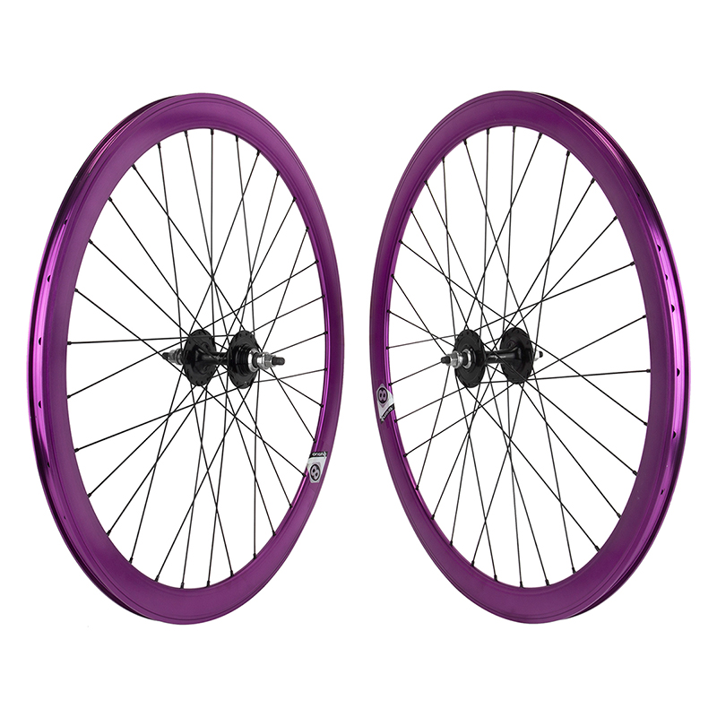 Origin8 Purple 32h Track Bike Fixed Gear Aero Wheelset 42mm