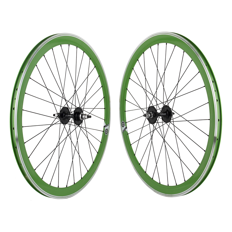 Origin8 Green 32h Track Bike Fixed Gear Aero Wheelset 42mm FX/FW