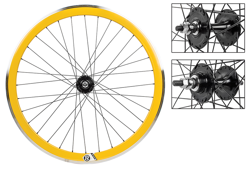 Origin8 Yellow 32h Track Bike Fixed Gear Aero Wheelset 42mm