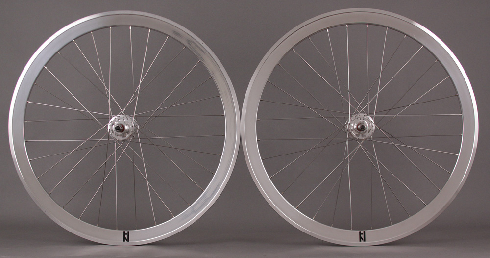 H Plus + Son SL42 POLISHED Silver Fixed Gear Wheelset MSW 32H
