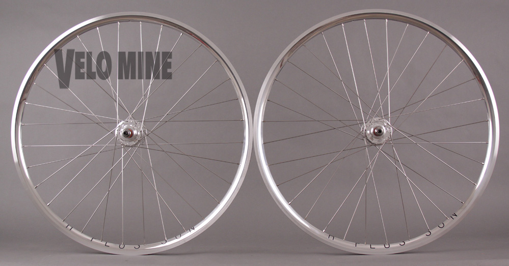H + Plus Son Archetype Polished Silver Rims Track Wheelset 32h