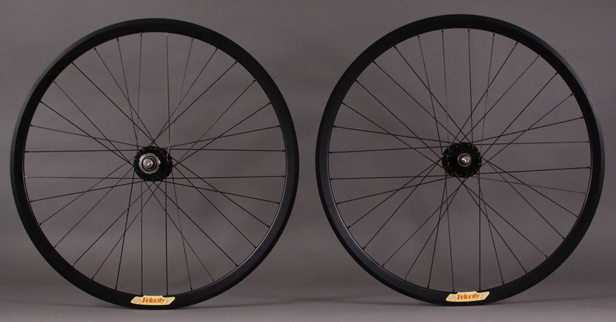 Hand Built Black Velocity Deep V Track Wheels Phil Wood Hubs