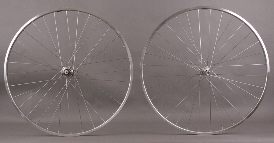 H + plus Son TB14 Polished Silver T-11 hubs Wheelset Shimano