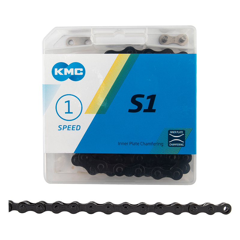 "KMC 1/8"" S1 track fixed gear chain 112 links BLACK"