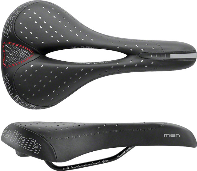 Selle Italia Man Gel Flow Saddle: Black L2