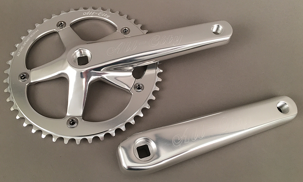 All City 612 Track Crankset 165mm Silver 46t Alloy 1/8""