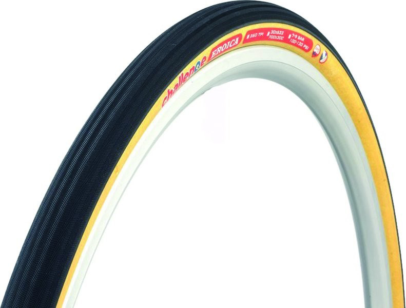 Challenge Eroica Tubular 700x30 Black Brown Gravel Sewup Tire